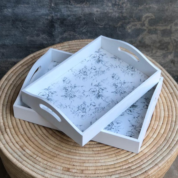 Wooden Grey Floral Trays